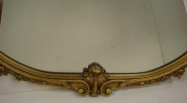 7: Ornate Gold Frame 1920's Plate Wall Mirror: - 3