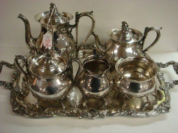 12:  REED & BARTON Silver-plate 5 Piece Tea Service, Tr