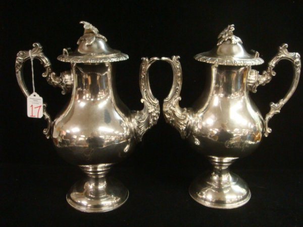 17: Pair of Vintage Silver Plated Pedestal Teapots: