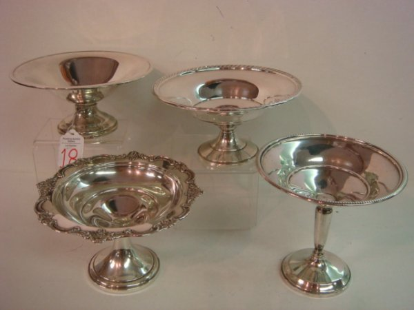 18: 4 Sterling Silver Compotes Including FISHER: