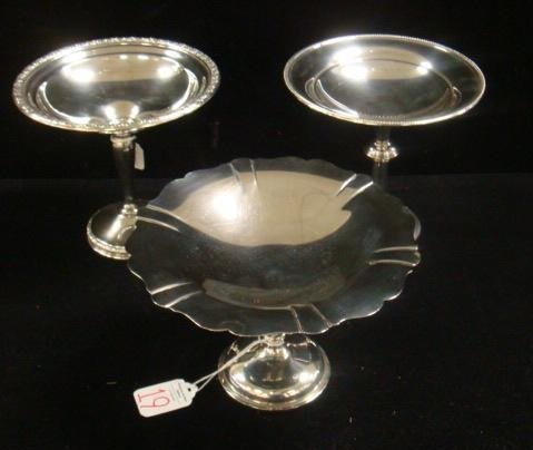 19: 3 Sterling Silver Compotes Including ROGERS: