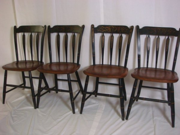 38: Set of 4 Hitchcock Reproduction Side Chairs: