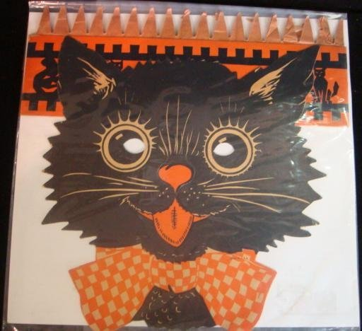 437: Halloween Black Cat Mask Paper Cutout CA 1940: