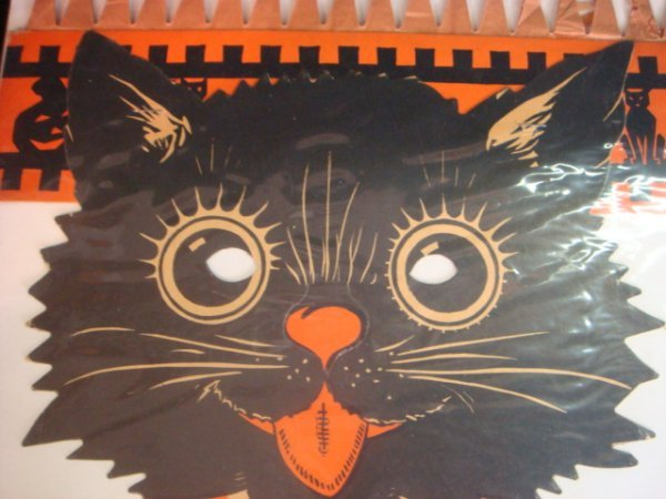 437: Halloween Black Cat Mask Paper Cutout CA 1940: - 2