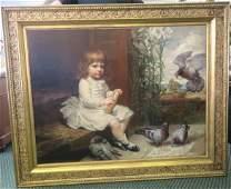 Oil 0n Canvas Signed ANNA LEA MERRITT, Girl & Birds: