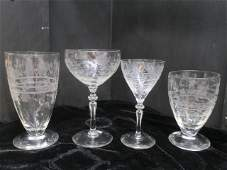 Etched Crystal Stemware, 31 Pieces: