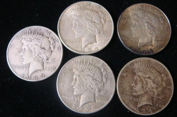 2:  5 PEACE SILVER DOLLARS, Circulated Condition: