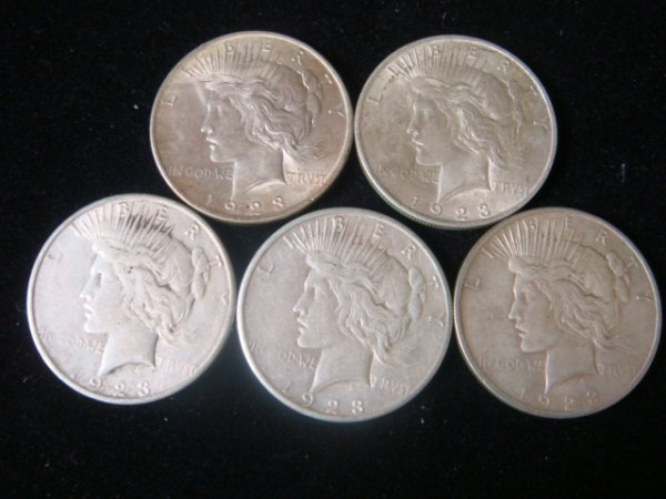 8:  5 1923 PEACE SILVER DOLLARS, Circulated Condition