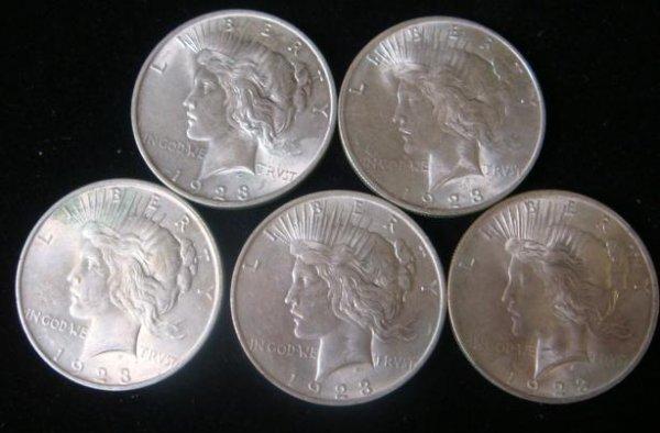 10:  5 1923 PEACE SILVER DOLLARS, Uncirculated Conditio
