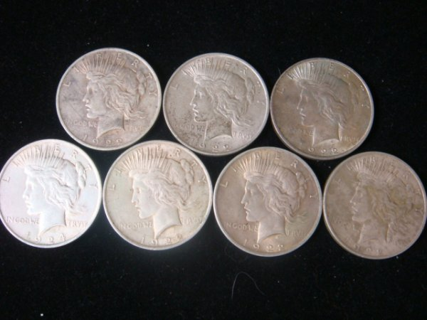 11:  7 1922 PEACE SILVER DOLLARS, Circulated Condition: