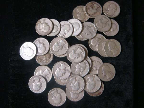 18: 34 Silver WASHINGTON Quarters: