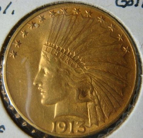 50E:  1913 10 DOLLAR GOLD PIECE, AU 50: