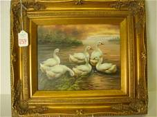 259: Oil on Board Ducks in Ornate Gold Frame: