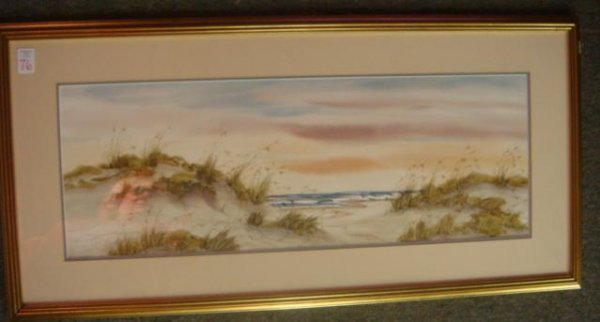 76: Signed NANCY TUTTLE MAY Watercolor Beachscape: