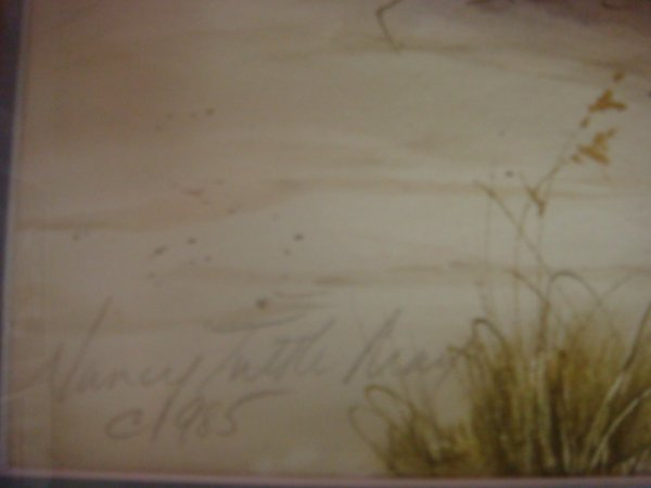 76: Signed NANCY TUTTLE MAY Watercolor Beachscape: - 3