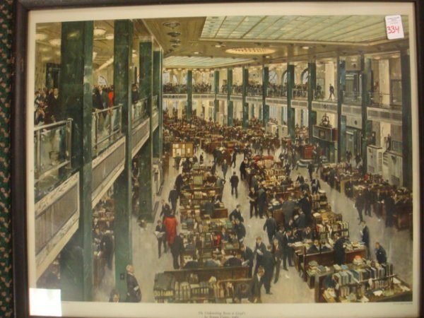 149: TERENCE CUNEO 1965 Underwriters Room at Lloyds:
