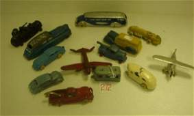 272  13 Cast Metal Cars Tank Planes and Trailers