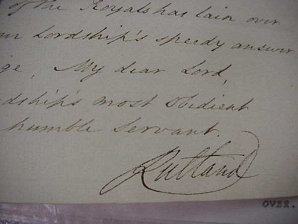 18: Charles Manners, Signed Military Letter