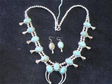 Navajo Squash Blossom Necklace/Earrings Signed DG: