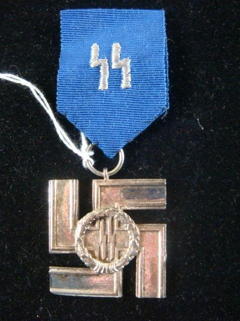 408: German SS 12 YEAR SERVICE MEDAL & BLUE RIBBON: