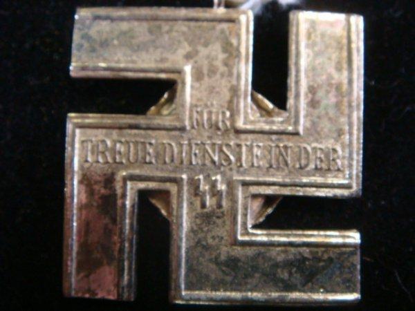 408: German SS 12 YEAR SERVICE MEDAL & BLUE RIBBON: - 2