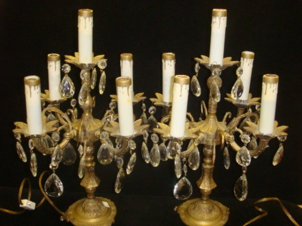 1: Pair of Brass 5 Arm Lighted Candelabrum: