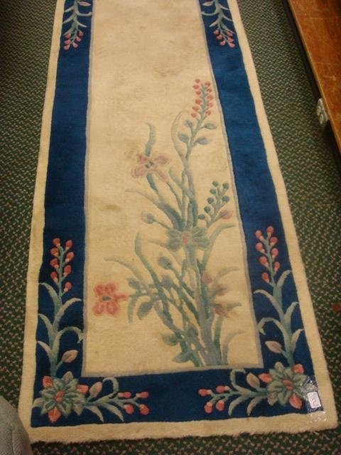 2: Chinese Tufted Ivory and Blue Runner Rug: