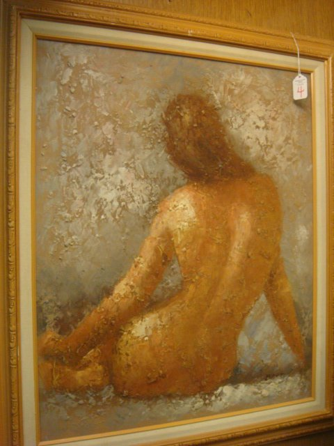 4: BARTON Oil on Canvas Texture Painted Nude Female: