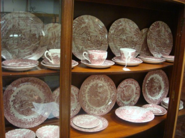 8: 36 Pieces of Pink Transferware Scenic China:
