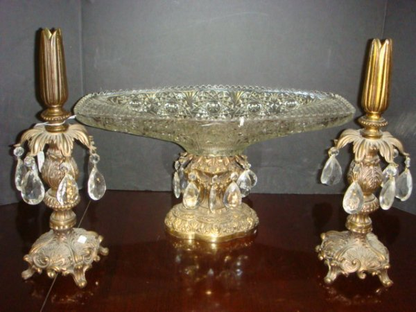 10: Brass and Glass Console Set with Prisms:
