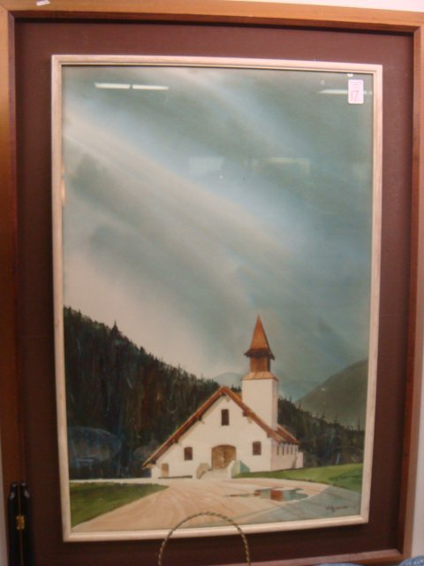 17: Signed ALEXANDER Church in Vale Framed Watercolor: