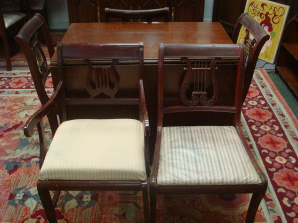 19: Mahogany Drop Leaf Table and 5 Lyre Back Chairs: