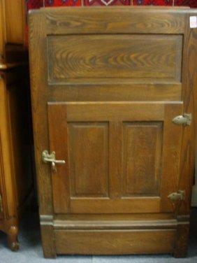 49 Oak Single Door Vintage Ice Box