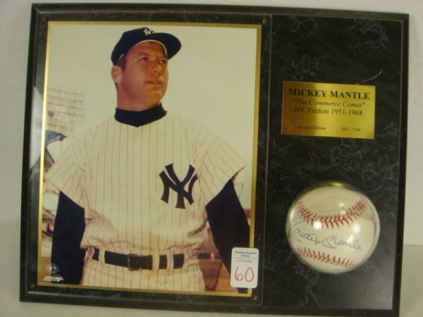 60: MICKEY MANTLE Signed Baseball on Plaque: