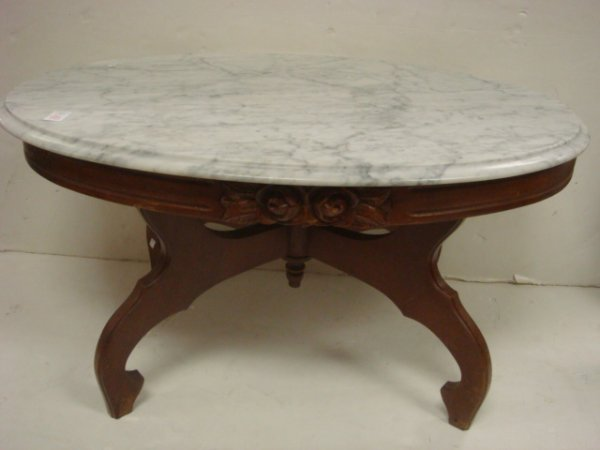 98: Victorian Mahogany Carved Coffee Table, Marble Top: