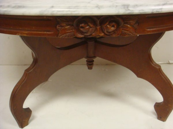 98: Victorian Mahogany Carved Coffee Table, Marble Top: - 2