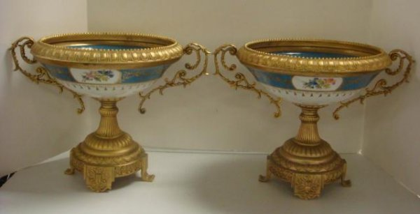 169: Pair of Ornate Gilt and Porcelain Compotes: