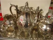 346: REED & BARTON Silver-plate 5 Piece Tea Service, Tr
