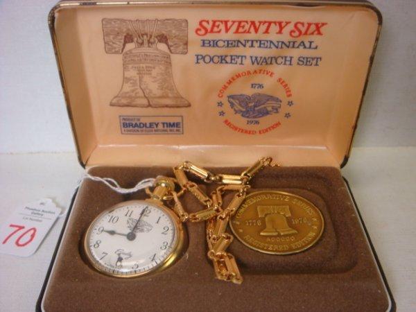 70: Bradley Seventy Six Bicentennial Pocket Watch Set: