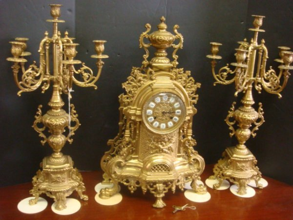 70A: 1930's Solid Italian Brass Ormolu Garniture: