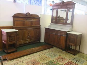Four Piece English Oak Bedroom Set Ca 1870