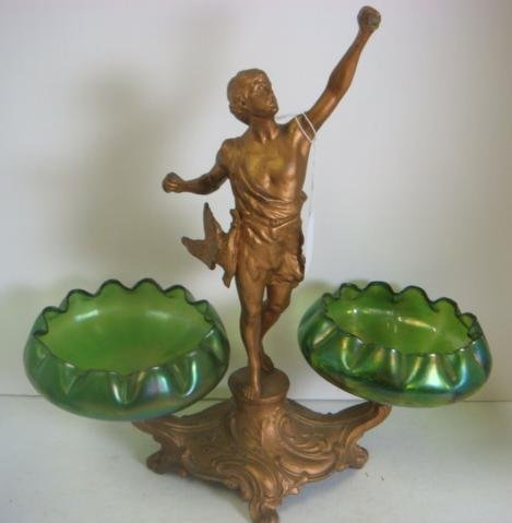 1: Spelter Figural Compote with Two Art Glass Inserts :