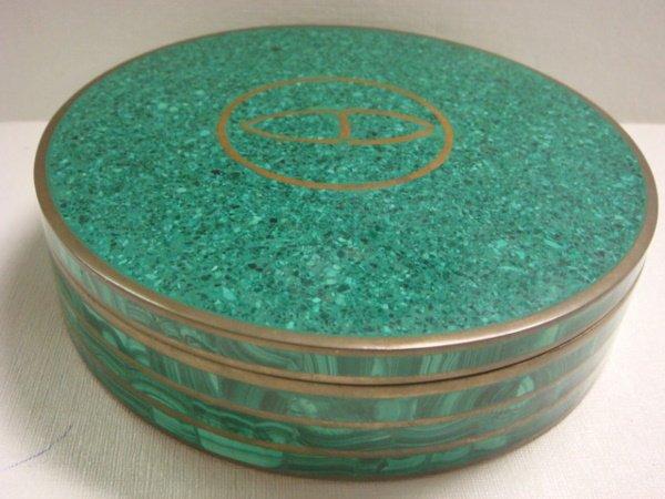 5: Malachite with Brass Round Covered Box: