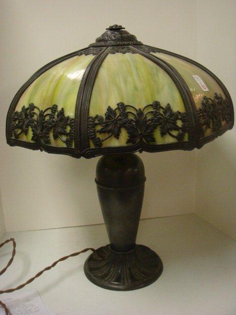 6: 8 Panel Slag Lamp with Leaf Overlay: