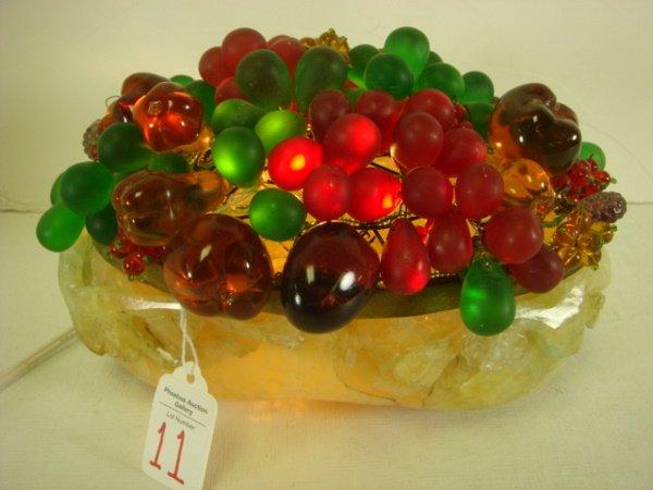 11: Jade Based Basket Lamp with Multi-Color Glass Fruit