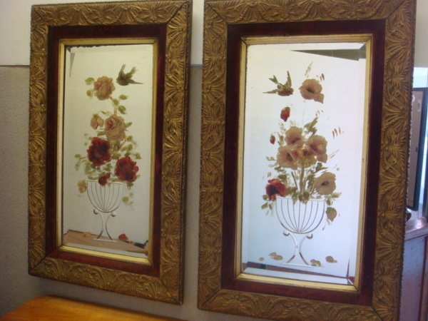14: Pair of Hand painted Beveled Mirrors in Ornate Fram