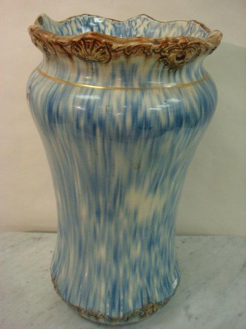 15: Blue Spongeware 1890 Ceramic Umbrella Stand: