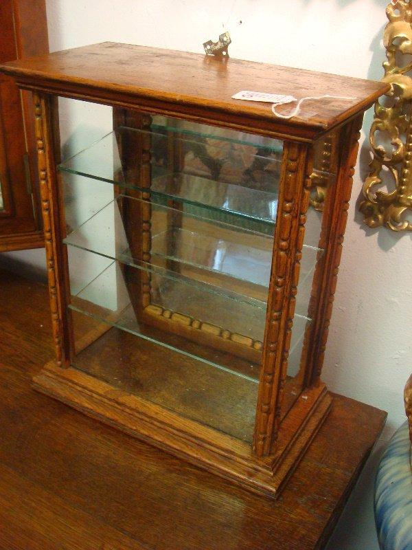 16: 19th C Miniature Oak Display Case with Shelves: