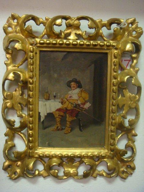 17: Signed A SCHWICKER Oil on Board, Gilt Italian Frame