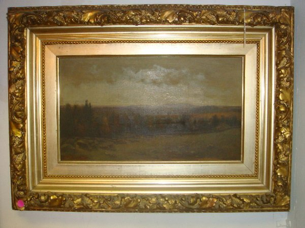 18: 19thC Artist Signed Oil on Canvas Landscape: